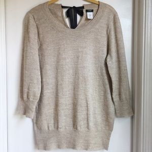 J.crew Gold Shimmer Bow Sweater Size S